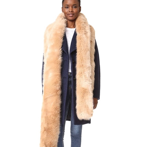 NWT CARVEN faux fur long stole LUXE!